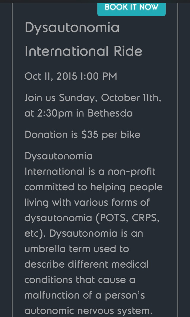 Charity Ride for Dysautonomia International and why it's so important